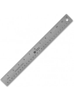 "Business Source Nonskid Stainless Steel Ruler - 12"" Length - 1/16, 1/32 Graduations - Metric Measuring System - Stainless Steel - 1 Each - Silver"