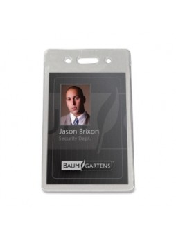 Baumgartens 47820 Proximity Badge Holder , Vertical ID, Vinyl, Clear Pack of 50