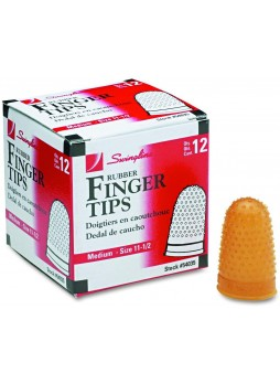 Swingline Rubber Finger Tips, 11 1/2 (Medium), Amber, Dozen (54035)