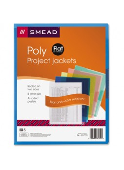 Smead 85750 Assortment Poly Translucent Projects Jackets, polypropylene, letter size, pack of 5