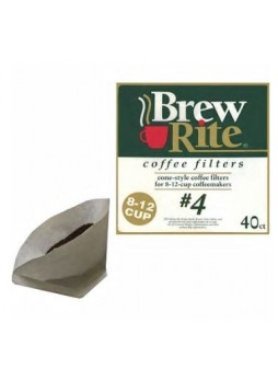 Brew Rite® #4 Cone Coffee Filters, 8-12 Cup, 40/Pack