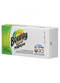 "Bounty 1-Ply Everyday Napkins, 15"" x 17"", White, Pack Of 100"