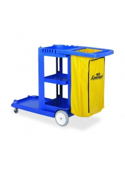 "Janitorial cart, 8"", 3"" Caster Size(s) - Plastic, Vinyl - 38"" Length x 55"" Width x 30"" Depth x 38"" Height - Blue - cmc184bl"