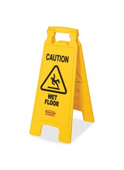 "Caution Wet Floor - 11"" Width x 25"" Height - Plastic - Yellow - rcp611277yw"