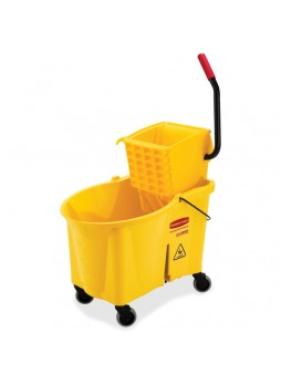 "Janitorial Cart, Plastic, Steel - 17"" Width x 24"" Depth x 38"" Height - Yellow - rcp618688yel"
