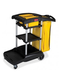 "Janitorial Cart, 4 Casters - 4"", 8"" Caster Size(s) - Plastic, Aluminum - 21.8"" Width x 49.8"" Depth x 38.3"" Height - Black - rcp9t7200bk"