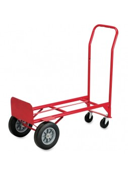 "Folding platform truck, 600 lb Capacity - 4 Casters - Steel - 18"" Width x 16"" Depth x 51"" Height - Frame Material Steel - Red - saf4086r"