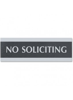 "No Soliciting Sign - 9"" Width x 3"" Height - Black - uss4758"
