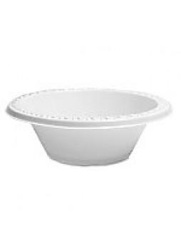 Genuine Joe Reusable/Disposable 12 Oz. Plastic Bowls, White, Pack Of 125