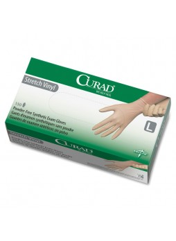 Curad, Powder-Free Stretch Vinyl Exam Gloves, Medium, 150/Box