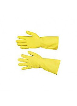 Yellow Flock-Lined Gloves, Large