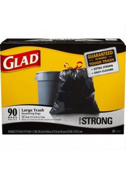 Glad® Trash Bags, Drawstring, 30 Gallons, Black, Box Of 90