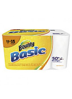 "Bounty Basic 1-Ply Paper Towels, 10 3/16"" x 10 15/16"", White, 55 Sheets Per Roll, 12 Rolls"