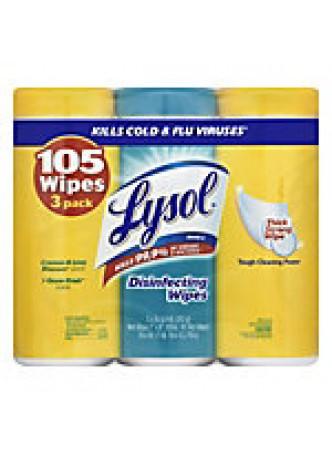 Lysol Disinfectant Wipes, Lemon And Ocean, 35 Wipes Per Carton, Pack Of 3 Cartons