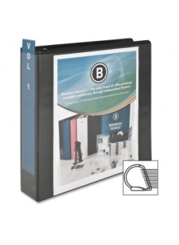"Business Source 28448 Basic D-Ring View Binder, 2"", D Ring, Polypropylene, Black, Each"