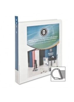 "Business Source 28440 Slanted Ring Presentation Binder, 1"", D Ring, Polypropylene, White, Each"