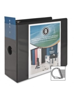 "Business Source 28451 Basic D-Ring View Binder, 5"", D Ring, Polypropylene, Black, Each"