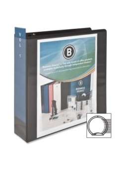 "Business Source 09958 Round Ring View Binder, 3"", 625 sheet capacity, Round ring, Black, Each"