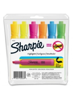 Sharpie 25076 Major Accent Highlighters, Chisel point, Assorted colors, set of 6