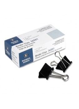 "Business Source 36551 Binder Clip, Medium, 1.25"" width, Black, Dozen"