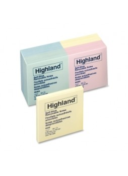 "Highland 6549A Self-Sticking Note, Repositionable, 3"" x 3"", Assorted colors, Pack of 12"