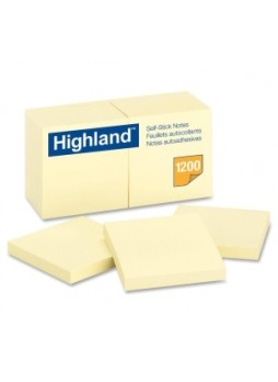 "Highland 6549-YW Self-Sticking Note Pad, 3"" x 3"", Yellow, Pack of 12"