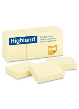 "Highland MMM 6539 Self-Sticking Note, Repositionable, 1.50"" x 2"", Yellow, Pack of 12"