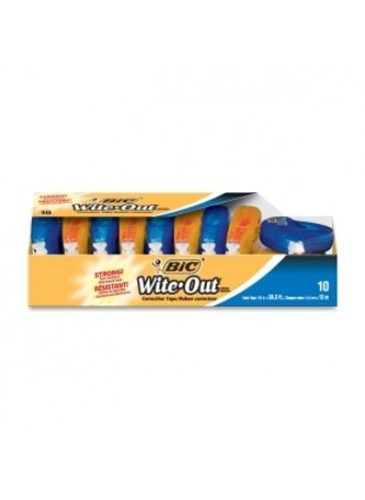 BIC WOTAP10 Wite-Out Correction Tape, 1 line, Odorless, White, Pack of 10