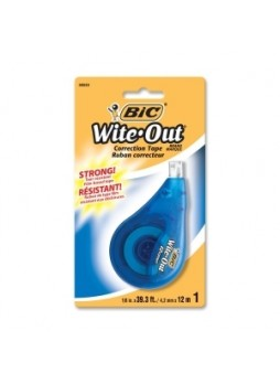 BIC WOTAPP11 Wite-Out Correction Tape, 1 line, Odorless, White, Each