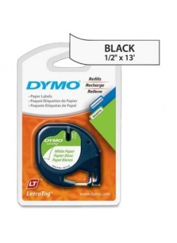 "Dymo 10697 LetraTag 10697 Paper Tape, 0.50"" x 13ft, White on black, Pack of 2"