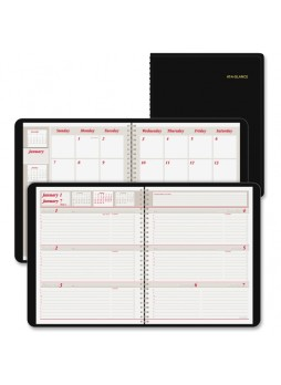 "Julian - Monthly, Weekly - January till December - 8:00 AM to 5:00 PM 1 Month, 1 Week Double Page Layout - 6.87"" x 8.75"" - Wire Bound - Black - Leather - aag7065005"