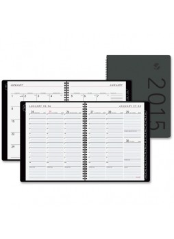 "Julian - Weekly, Monthly - 1 Year - January till December - 8:00 AM to 5:30 PM 1 Week, 1 Month Double Page Layout - 8.25"" x 10.88"" - Wire Bound - Black - Leather - aag70950x05"
