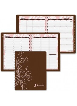 "Julian - Weekly, Monthly - 1 Year - January till December - 8:00 AM to 5:00 PM 1 Week, 1 Month Double Page Layout - 8.50"" x 11"" - Wire Bound - Brown - Paper, Metal - aag794905"