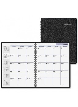 "Julian - Monthly - 1 Year - January 2016 till December 2016 1 Month Double Page Layout - 6.88"" x 8.75"" - Wire Bound - Black - Leather - aagg4000"