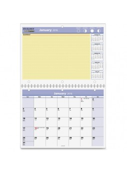 "Julian - Monthly - 1 Year - January 2016 till December 2016 - 1 Month Single Page Layout 1 Month Double Page Layout - 11"" x 8"" - Wire Bound - Blue - Paper - aagpm5028"