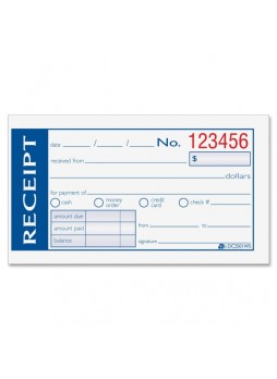 "Receipt book, 50 Sheet(s) - 2 Part - 5.38"" x 2.75"" Sheet Size - 1 / Each - abfdc2501ws"