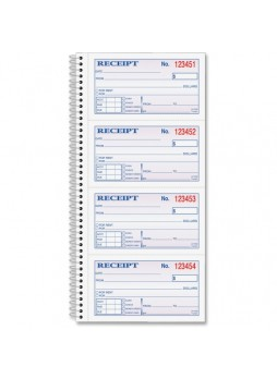 "Receipt book, 200 Sheet(s) - Spiral Bound - 2 Part - 11"" x 5.25"" Form Size - Assorted Sheet Color - 1 Each - abfsc1152"