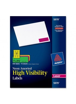 "Label, 1"" Width x 2.62"" Length - 30/Sheet - Rectangle - Laser - Assorted - 450 / Pack - ave5979"
