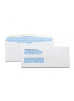 "Envelopes Double Window - #10 (4.25"" x 9.50"") - 24 lb - Gummed - Wove - 500/Box - White - bsn36694"