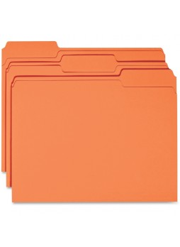 File Folder, 1/3 Tab Cut - 11 pt. Folder Thickness - Orange - Recycled - 100 / Box - bsn44105