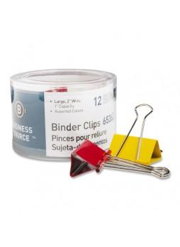 "Business Source 36552 Binder Clip Large Black 12 // Dozen 2/"" Width"
