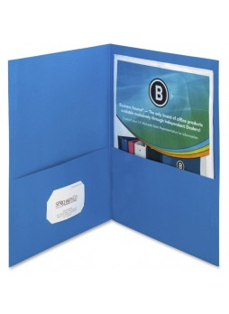 "Letter - 8.50"" Width x 11"" Sheet Size - 125 Sheet Capacity - 2Inside Front & Back Pockets - Paper - Blue - Recycled - 25 / Box - bsn78491"
