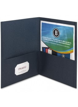 "Letter - 8.50"" Width x 11"" Sheet Size - 125 Sheet Capacity - 2Inside Front & Back Pockets - Paper - Dark Blue - Recycled - 25 / Box - bsn78492"