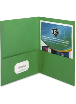 "Letter - 8.50"" Width x 11"" Sheet Size - 125 Sheet Capacity - 2Inside Front & Back Pockets - Paper - Green - Recycled - 25 / Box - bsn78493"