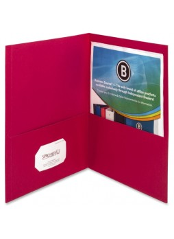 "Letter - 8.50"" Width x 11"" Sheet Size - 125 Sheet Capacity - 2Inside Front & Back Pockets - Paper - Red - 25 / Box - bsn78494"