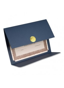 "Certificate holder, Letter - 8.50"" Width x 11"" Sheet Size - Linen - Navy - Recycled - 5 / Pack - fst83534"