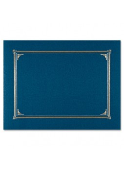 "Certificate holder, Letter, A4+ - 8.50"", 10"", 8.27"" Width x 11"", 8"", 11.69"" Sheet Size - Linen - Navy Blue - Recycled - 6 / Pack - geo45332"