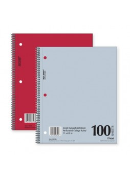 "Notebook, 100 Sheets - 15 lb Basis Weight - Letter 8.50"" x 11"" - 1Each - White Paper - mea06546"
