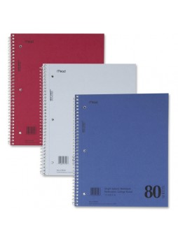 "Notebook, 80 Sheet - 15lb - College Ruled - Letter 8.5"" x 11"" - 1 Each - mea06548"