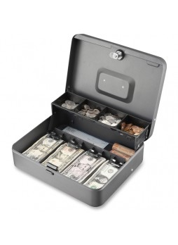 "Cash box, 4 Bill - 5 Coin - Steel - Gray - 3.2"" Height x 11.8"" Width x 9.4"" Depth - mmf2216194g2"